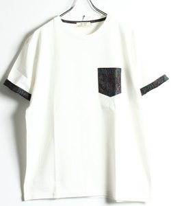 総柄ポケット付き クルーネックTシャツ