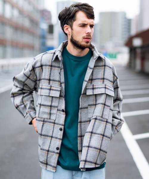 ビッグシルエット チェックシャツジャケット
