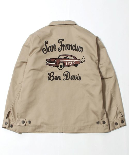 【 BEN DAVIS ( ベンデイビス )】レトロ 刺繍 ワークジャケット / アメ車 / チェーン刺繍 / ライトアウター