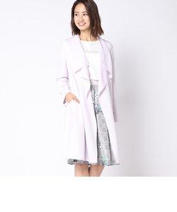 ライトドライギャバラッフル襟コート