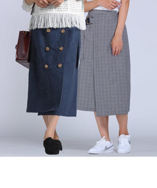 【socolla】リバーシブルスェードトレンチスカート