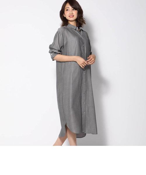 【洗濯可能】キュプラシャツワンピース