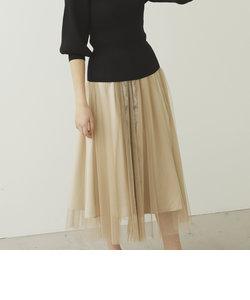 チュール異素材ドッキングフレアスカート