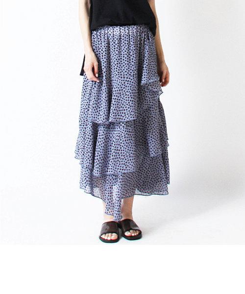 【WEB別注】ドットレオパードフリルスカート