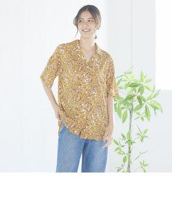リーフ柄オープンカラーシャツ
