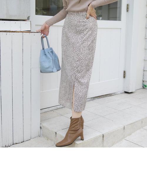 《手洗い可能》レオパード柄フロントベンツスカート