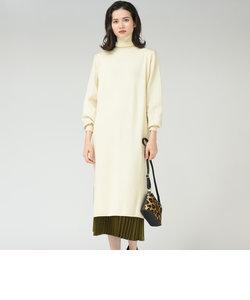 【socolla】【WEB別注】プリーツスカート付きニットワンピース