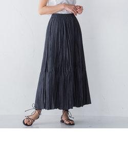 【socolla】デニム風ランダムプリーツスカート