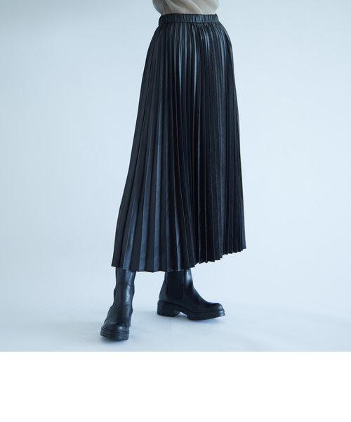 【socolla】レザー風プリーツスカート