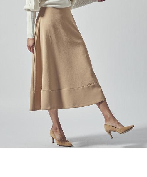 【大きいサイズ】切り替えロングフレアスカート