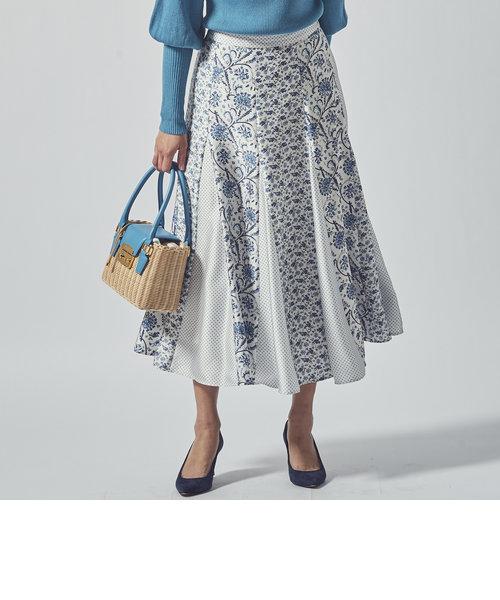 【大きいサイズ】≪SET UP対応≫ドットフラワープリントフレアスカート