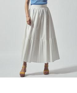 リネンライク裾切替プリーツスカート