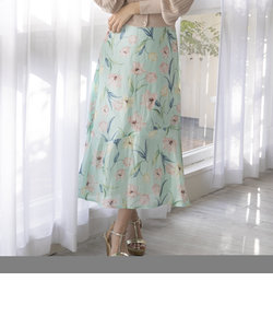 【大きいサイズ】フラワープリントティアードスカート