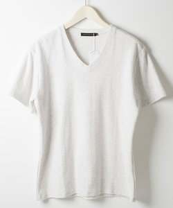 パイルジャガード半袖VネックTシャツ/カットソー