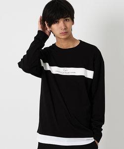 フェイクレイヤードラインプリント長袖Tシャツ/カットソー