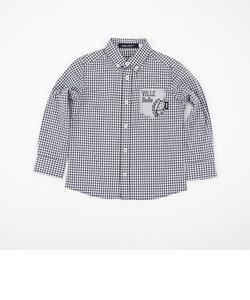 ポケットロゴプリントギンガムシャツ