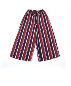 【ニコプチ掲載】【カタログ掲載】デシンストライプ柄リボン付9分丈パンツ