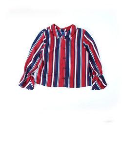 【ニコプチ掲載】デシンストライプ柄エリ付きシャツ