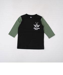 天竺袖配色7分丈Tシャツ