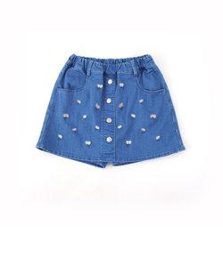 【ニコプチ掲載】【カタログ掲載】TRPU花刺繍スカートパンツ
