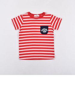 天竺ボーダーポケット付Tシャツ