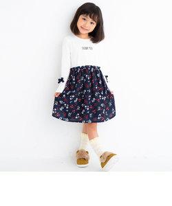 天竺+デシン花プリントワンピース