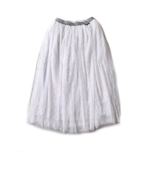 ママ星柄チュールロングスカート