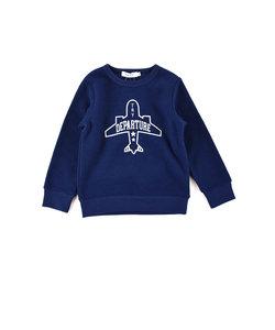 ブークレーフリース飛行機刺繍トレーナー