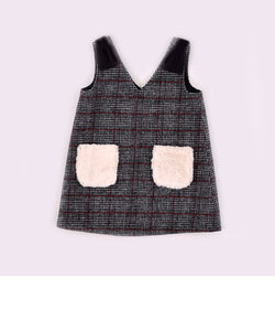 チェックファーポケットジャンパースカート