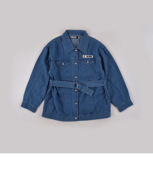 ベルト付 バックプリント シャツ デニム ジャケット(130cm~160cm)