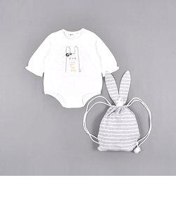 ウサギ プリント ロンパース + リュック セット