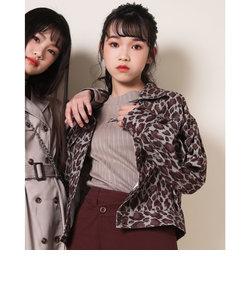 【ニコプチ掲載】レオパード コールテン シャツ ジャケット (130cm~160cm)
