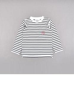 ボーダー ワンポイント 肉球 ポケット 長袖Tシャツ (80cm~130cm)