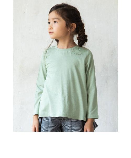 ワンポイント ブランドロゴ 刺繍 長袖 Tシャツ (80cm~130cm)