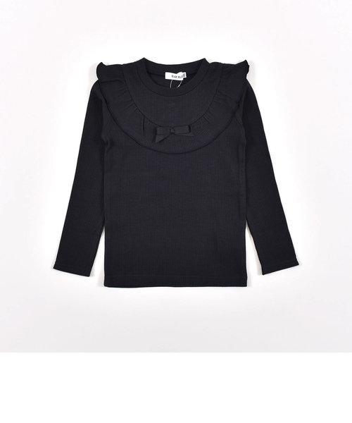ヨークフリル リボン 星 無地 長袖 Tシャツ (80cm~130cm)