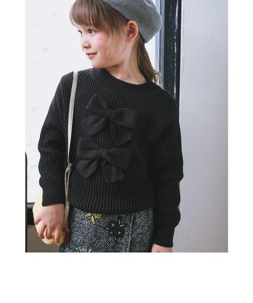 日本製 BIG リボン 付き アクリル ナイロン ウール混 長袖 ニット(110cm~150cm)