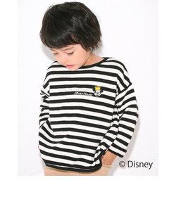 【Disney】ミッキーマウス / ボーダー 裏毛 刺繍 トレーナー / ディズニー (80cm~130cm)