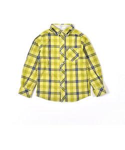 チェック+無地 リバーシブル 二重織 シャツ(100~160cm)