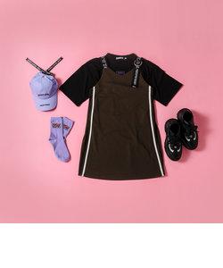 Tシャツ + ロゴショルダー ジャンパースカート 2点セット(130~160cm)