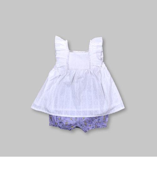 フラワー 花柄 パンツ 袖口 フリル ノースリーブ セットアップ