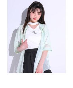 【ニコ☆プチ掲載】マーブル柄 シャツ+チョーカー風 Vネック Tシャツ セット(130~160cm)