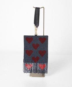ハートフリンジ刺繍バッグ