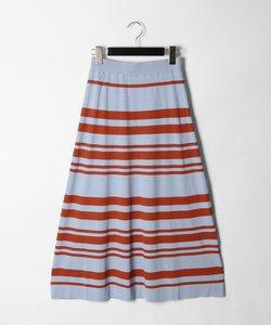ボーダーフレアニットスカート