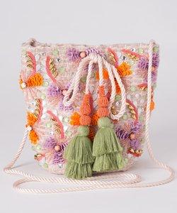 フラワー刺繍ミニバッグ