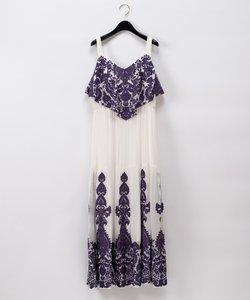 アラベスク刺繍ロングワンピース
