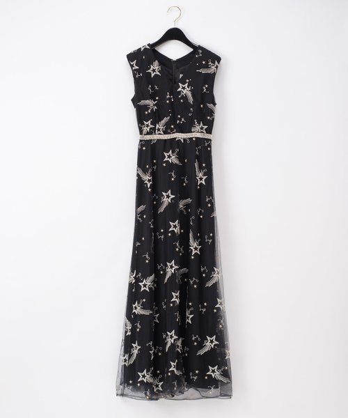 チュール刺繍ビジュードレス