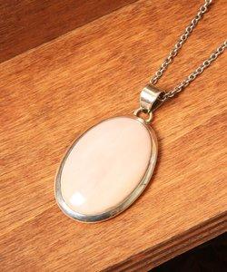 【フランス買付】ピンクオパール楕円大ネックレス