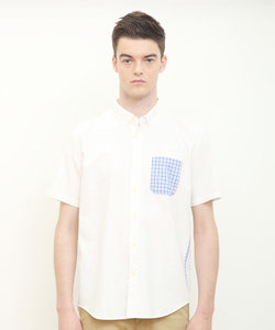 シアサッカーポケット半袖シャツ(ホワイト)