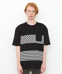 パネル半袖Tシャツ/フラッグチェック(ブラック)