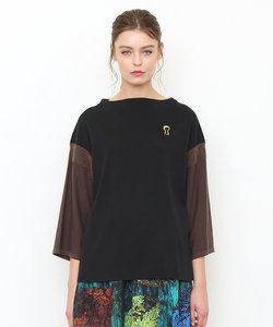 ボトル ネック ニット 七分袖Tシャツ /キーホール キャット(ブラック)